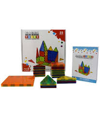 Picasso Tiles Magnetic Building Blocks by 100 Magna Tiles Clear Colors 32 Pc Set Construction Toys