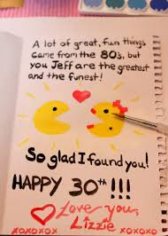 Birthday Inspiring hand writing 30th birthday card for husband from wife with cute pacman couple