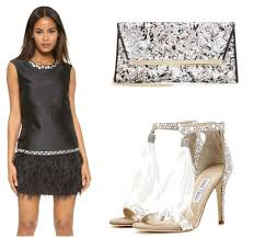 Great Gatsby Party Outfit Idea With Black Feathered Cocktail Dress