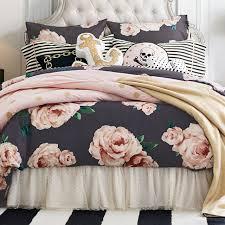 the emily meritt bed of roses duvet cover sham black blush