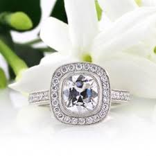 243ct Antique Cushion Cut Diamond Engagement Ring