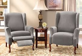 wing chair recliner slipcovers sure fit stretch pique wing recliners