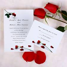 Dainty Rose Flat Wedding Invitation UKI064