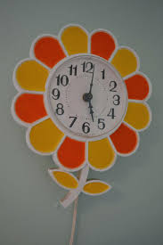 Large Multi Coloured Metal Wall Clock Big Colorful Clocks Vintage Retro Spartus Orange And Yellow Flower Kitchen My Grandmother Had A