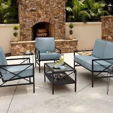 Beach Lounge Chairs Kmart by Essential Garden Anniston Blue 4 Piece Seating Set Kmart