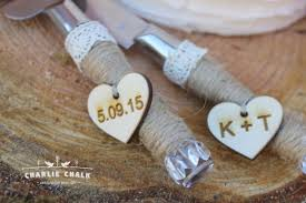 Rustic Elegant Wedding Cake Knife Set Personalized Serving Cutter Server