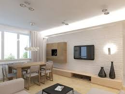 fernseher wand montieren wohnzimmer weisse ziegelwand