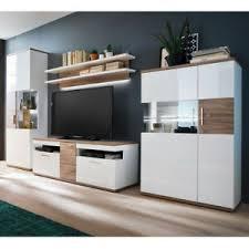 details zu wohnwand anbauwand weiß hochglanz mit sterling oak wohnzimmer set luzern 1