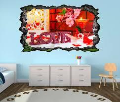 3d wandtattoo liebe blumen blume rot text schlafzimmer vintage selbstklebend wandbild wandsticker wohnzimmer wand aufkleber 11o713