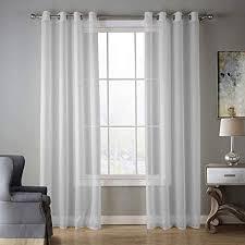 wrming voile vorhang transparent einfarbig gardinen wohnzimmer voile stores gardinen vorhänge mit ösen 2er set white 140x220cm