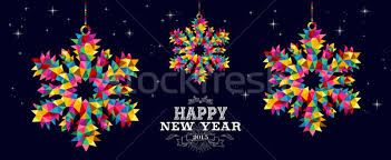 Happy New Year 2015 snowflakes card design vector illustration