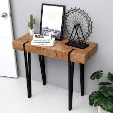 100 Living Room Table Modern Mcombo Industrial Console Table Farmhouse Metal Frame Rustic Wood For Entryway 6090KAPERWT