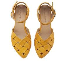 Memorial Day Yellow Braided Handmade Leather Flat Sandals Sophie By 155