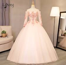 popular blush pink gown with sleeves buy cheap blush pink gown