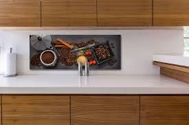 glasbild 80x30cm wandbild glas kaffee gewürze küche deko