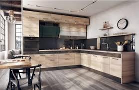 küche in l form helles holz und schwarz backofen im