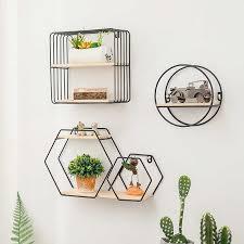 metall holz rack regal nordic stil geometrische regale wohnzimmer lagerung rack wand hängen buch display regal home wand decor