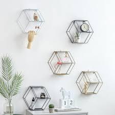 wandregal aus eisen sechseckiges wandregal kombi wandregal hängende geometrische figuren wanddekoration für wohnzimmer schlafzimmer metall