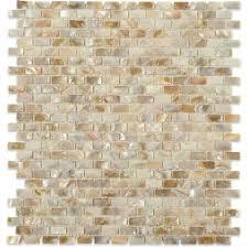 Splashback Tile Baroque Pearls Mini Brick 12 in x 12 in Pearl