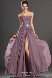 feminine purple chiffon strapless spit long prom dress