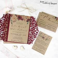Laser Cut Wedding Invitation Set Burgundy Gatefold Floral Custom Elegant