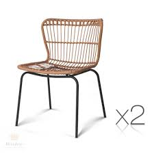 Set Of 2 X Lanai Dining Chairs - PE Wicker (Natural OR Black) Lotta Ding Chair Black Set Of 2 Source Contract Chloe Alinum Wicker Lilo Chairblack Rattan Chairs Uk Design Ideas Nairobi Woven Side Or Natural Flight Stream Pe Outdoor Modern Hampton Bay Mix And Match Brown Stackable