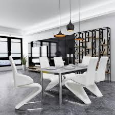 freischwinger esszimmerstühle modern 6 stk kunstleder weiss