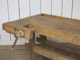 vintage antique woodworking wooden bench with vices