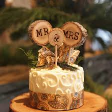 Rustic Wedding Cake Topper Tree Slice Mr Mrs By