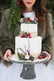 Two Tier Winter Holly And Pine Cone Cake
