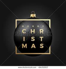 Black Christmas Ball On Dark Background With Golden Modern Typography Greetings Classy Card Or Poster