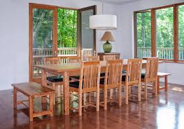 Long Dining Table Mission Style Room Set With Wooden Bench Seat