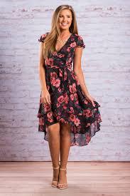 surplice neck floral high low dress black the mint julep boutique