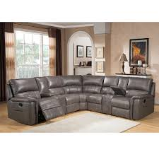 Grey Leather Sectional Living Room Ideas by Cortez Premium Top Grain Gray Leather Reclining Sectional Sofa