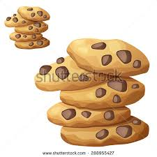 Choc chip cookies 2 Detailed vector icon isolated on white background Series of food