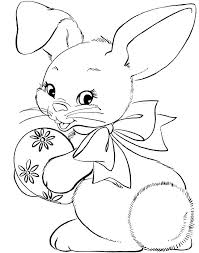 Cute Bunny With Easter Egg Coloring Pages