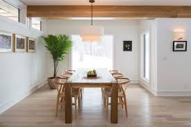 Minimalist Dining Room With Wooden Sets And Hanging Drum Pendant Lighting Fixtures