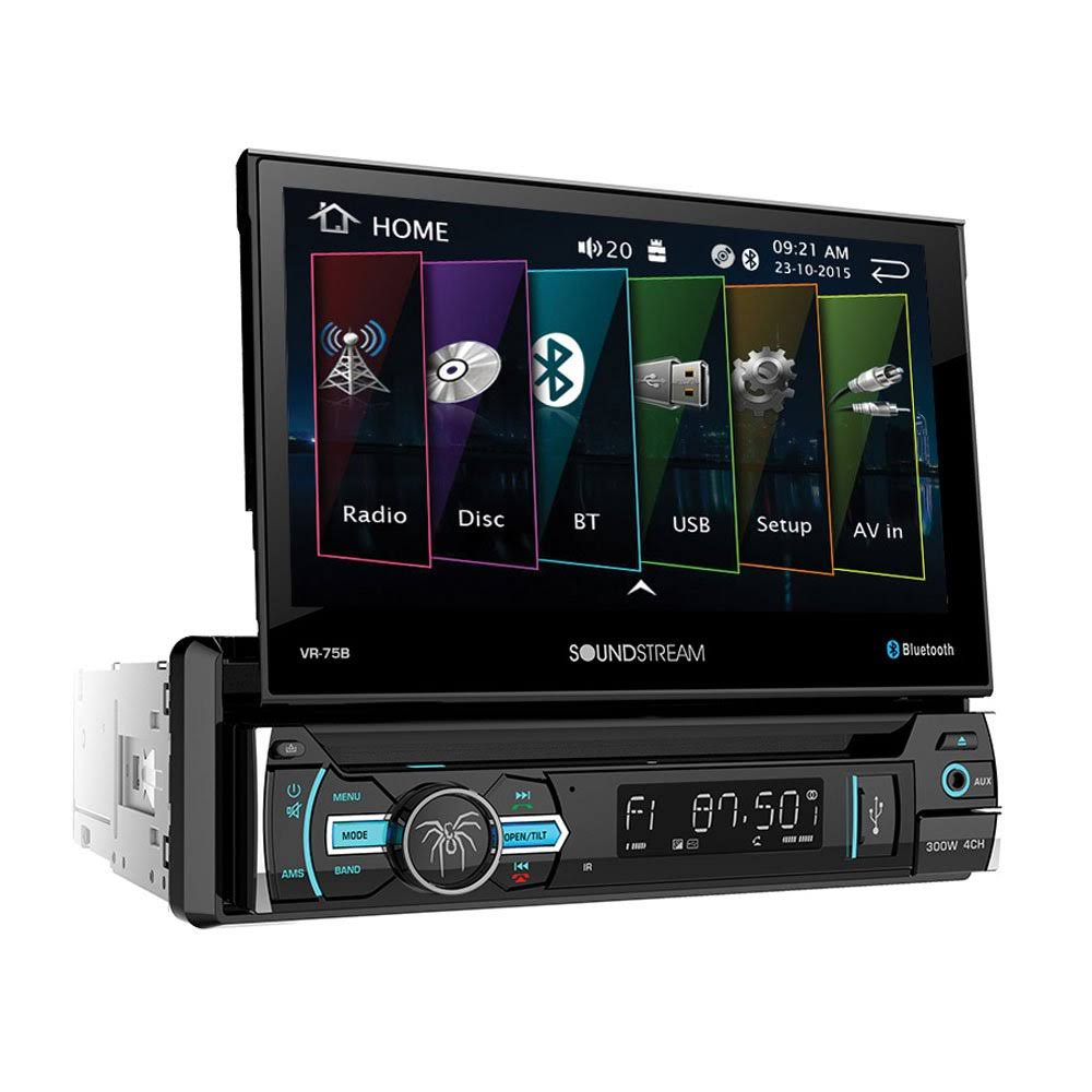 Soundstream Vr-75b 1 DIN Audio System with DVD Cd/mp3 Am/fm Receiver & Bluetooth, Black