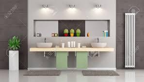 moderne badezimmer mit doppelwaschbecken auf hölzernen regal nische mit spiegel und objekte 3d rendering