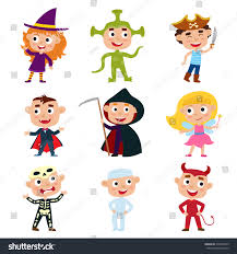 Childrens Halloween Books Witches by Vector Set Children Halloween Costumes Pirate Stock Vector