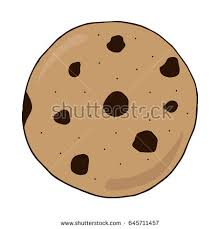 Chocolate chip cookie vector illustration doodle drawing Sweet cookie hand drawing