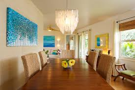 Beach Painting Ideas Dining Room Tropical With Turquoise Art California Casual Bamboo Blinds
