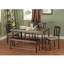 Metropolitan Brown Espresso 6 Piece Dining Set With Table Bench And 4 Chairs