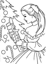 Barbie Standing Near Christmas Tree Coloring Pages