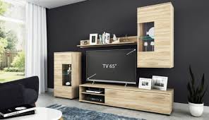 wohnwand anbauwand tv wand wohnzimmer möbel set cool 4 teilig eiche sonoma