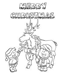 Christmas Reindeer Merry Coloring Page