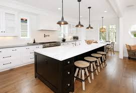 Astounding Vintage Industrial Kitchen Features Rectangle Shape Dark Brown Color Island With White Top And Cabinets Grey Granite