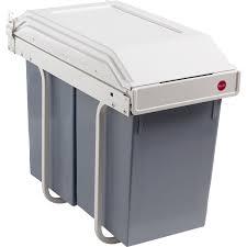 poubelle de cuisine manuelle hailo plastique blanc crème 30 l