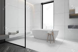 corner of stylish bathroom with white tiled walls comfortable