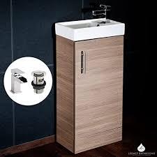 cube badezimmer garderobe unterschrank schrank eiche wasserfall waschbecken wasserhahn und ablaufgarnitur 400 mm x 220 mm chi001 dunk